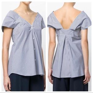 Theory off the shoulder Hartman stripe blouse top